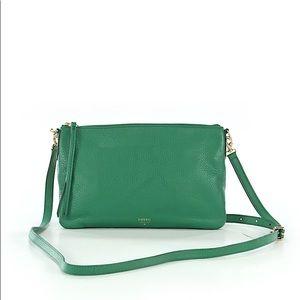 Fossil green leather crossbody bag.
